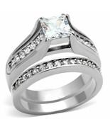 Womens 14k White Gold Plated Princess Cut CZ Wedding Ring Set Size 8 - $17.77