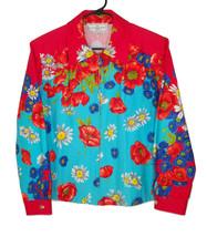 St. John M Medium Boxy Jacket BRIGHT Floral Cotton Beautiful - $40.49