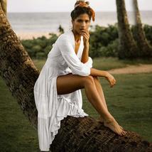 Women's Solid Tunic Style Button Down Long Lantern Sleeve Cotton Beach Dress image 4
