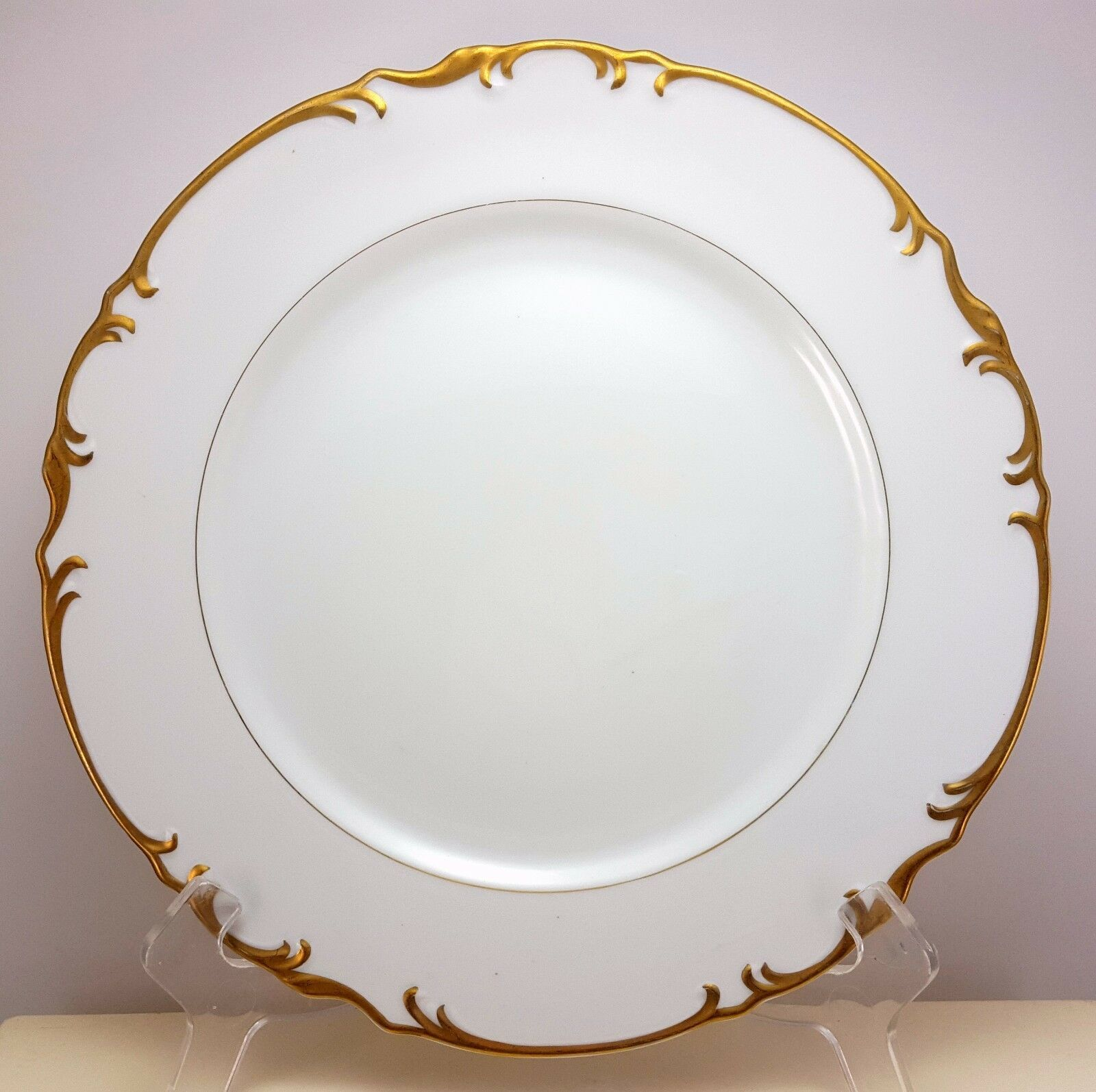 "Primary image for Mikasa Venice Dinner Plate 10-3/8""  White Fine China Gold Trim 9266"