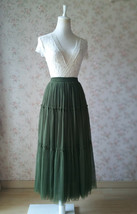 ARMY GREEN Layered Long Tulle Skirt Wedding Bridesmaid Tulle Skirt Plus Size image 4