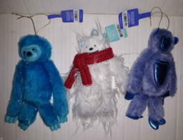 Lot 3 Furry Fuzzy Sloth Gorilla/Monkey & Yeti Abominable Snowman Ornamen... - $5.45
