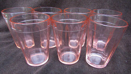 7 Hazel Atlas pink depression juice glasses paneled pattern - $24.00
