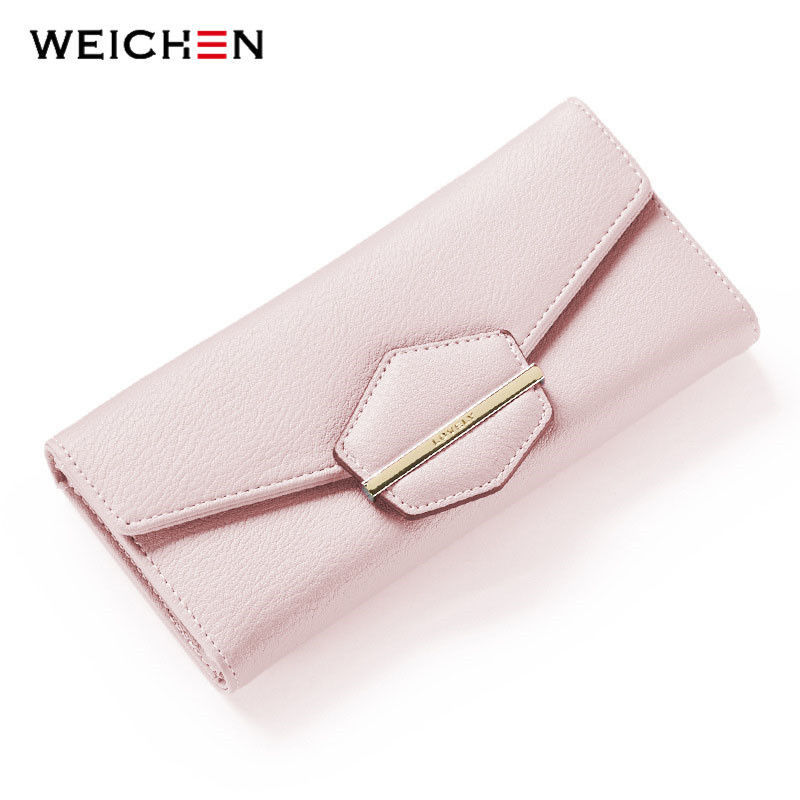 Primary image for WEICHEN® New Long Hasp Day Clutch Wallet For Women Soft Pink PU Leather