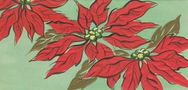 Vintage Christmas Card Poinsettias Green Background Embossed Mid Century - $7.91