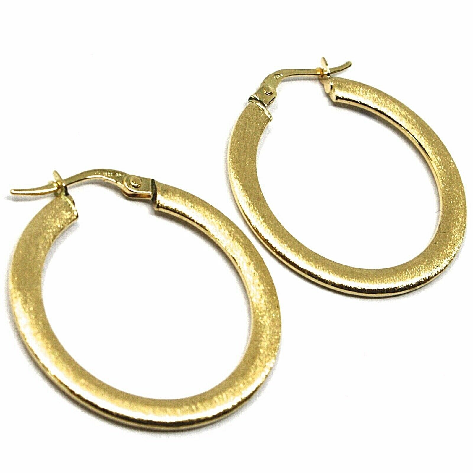 18K YELLOW GOLD CIRCLE HOOPS 3x1mm, EARRINGS 26mm, DOUBLE FACE SMOOTH & SATIN