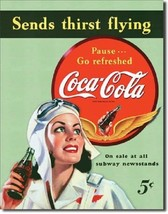 Coca Cola Coke Sends Thirst  Flying Advertising Vintage Retro Metal Tin ... - $14.99