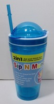 "Brand New "" WOW"" Sip N Crunch Cup W/Straw - Blue - $17.09"