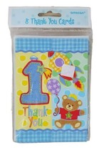 Thank You Card For 1st Birthday 8 Count With Envelopes Teddy Bear - $5.87