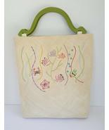 Vintage Andrea Stuart Straw Straw Tote Bag + Mirror Beaded Sea Life Wood... - $48.77