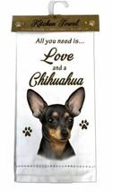 CHIHUAHUA BLACK DOG COTTON KITCHEN DISH TOWEL - $9.99