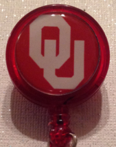 Ncaa Ou Oklahoma University College Badge Reel Id Holder Red Alligator C... - $6.95