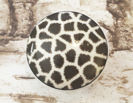 "Handcrafted Giraffe Print Knobs, 1.5"" Cabinet Knob, Animal Print Drawer ... - $5.94"