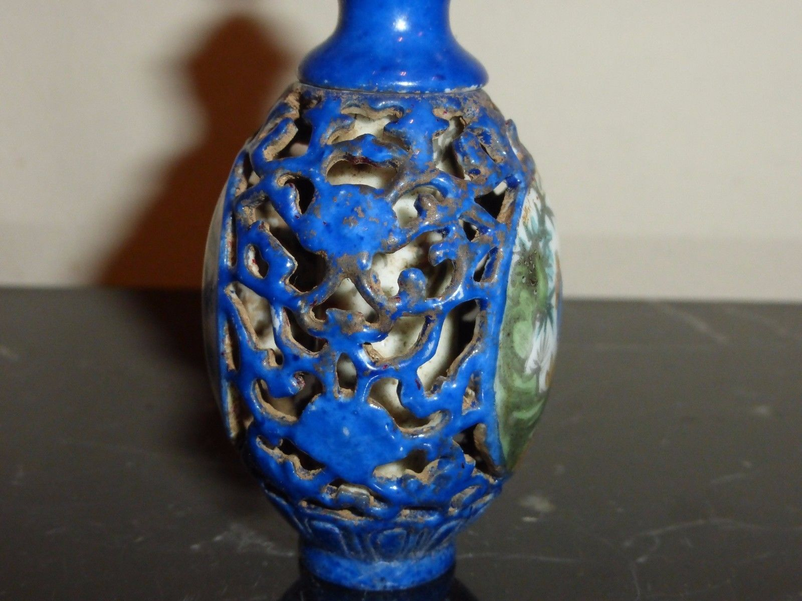ANTIQUE  CHINESE RETICULATED PORCELAIN SNUFF BOTTLE WITH INTERIOR INSCRIPTION