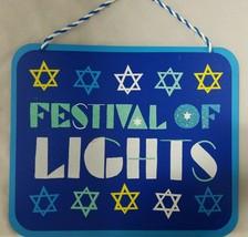 Wood Happy Hanukkah Star of David Festival of Lights Blue Wood Sign 12 X 10 - $9.90