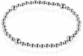 925 Sterling Silver Sleek Elastic Beads Stretch Bracelet for Women 6.25 ... - $79.69