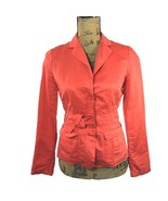 J.Crew Blazer 0 XS Linen Blend Orange Hidden Button Bow Waist Pocket Jac... - $41.85