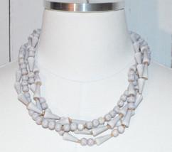 Light Purple Gray Abstract Bead Beaded Multi-Strand Necklace Vintage - $24.74