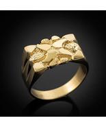 Mens 10K Yellow Gold Rectangular Nugget Ring - $259.99