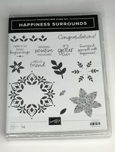 Stampin Up Happiness Surrounds Photopolymer Stamp Set 14 Words Congratul... - $19.99