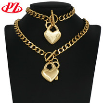 stainless steel jewelry set Gold color  For Women jewelry Sets  heart sh... - $26.92