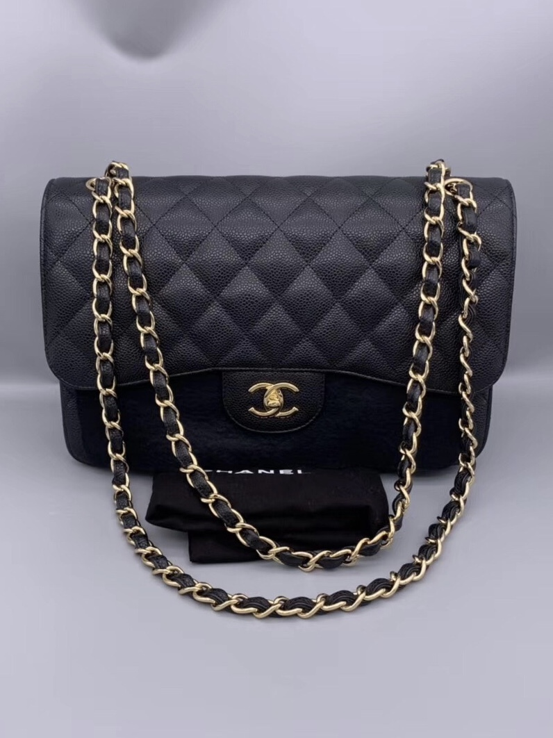 New Authentic Chanel Black Caviar Quilted Jumbo Double Flap