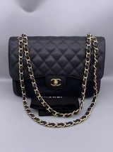 NEW AUTHENTIC CHANEL BLACK CAVIAR QUILTED JUMBO DOUBLE FLAP BAG GHW image 1