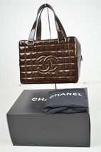 AUTHENTIC CHANEL CC BROWN PATENT LEATHER QUILTED BOSTON HANDBAG S80127 - $860.30