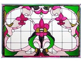 Silver Creek Fleur De Lis Green/Burgundy Art Glass Panel V-545 - $68.00