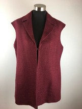 Coldwater Creek Women Tunic Vest 16 Purple Wine Tweed Sleeveless V Neck ... - $29.69