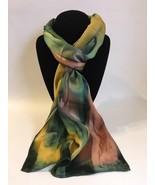 Hand Painted Silk Scarf Sunburst Yellow Green Brown Women Rectangle Uniq... - £40.98 GBP