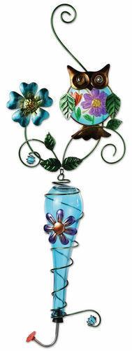 Painted Metal Owl & Blue Glass Bottle Garden Hanging Hummingbird Nectar Feeder