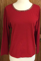 Long Sleeve Shirt Red Beads Around Neck Size Petite Large Charter Club Womens - $9.89
