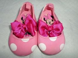 Pink & white Disney Minnie polka dot satin bow ballerina shoes 6-12 months  - $2.97