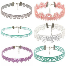1/6Pieces Choker Necklace Set Stretch Velvet Classic Gothic Tattoo Lace ... - $20.68