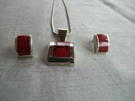 """Vtg  925 sterling modernist sterling jasper garnet pendant earrings set 9"""" chain - $83.30"""