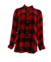 Tolani Collection Long-Sleeve Button Front Plaid Tunic Red Black M NEW A... - $48.49