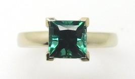 14k Gold Princess Cut 1.23ct Green Genuine Natural Tourmaline Ring (#J3880) - $510.00