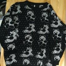 Vintage Silver Teddy Bears Pattern Knit Sweater - $37.05