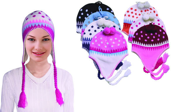 Case of [144] Women's Knitted Flap Hats - Assorted Colors