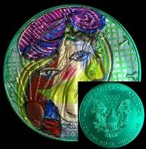 Pablo Picasso Portrait American Silver Eagle Ounce ASE Aqua Marine & Cap... - $72.00