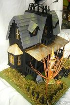 Bethany Lowe Haunted House & 2 Vintage Spun Cotton  Figurines!  light included image 3