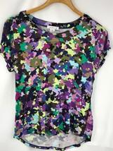 Liz Claiborne Women Shirt Tee Short Sleeve Multi Color Print Stretch Siz... - $19.92