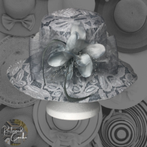 Ellen Tracy Womens Gray Floral Lace Bow Flower Feather Wide Brim Hat One... - $60.00