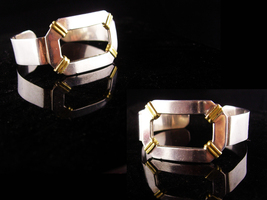 Sterling Large Cuff - Gideon silver - buckle bracelet - Wide with gold r... - $125.00
