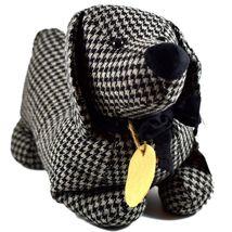 Delton Black Checkered Tweed Fabric Dachshund Puppy Dog Door Stopper Doorstop image 4