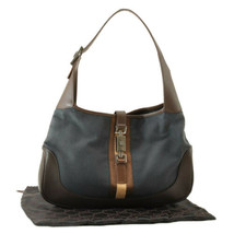 GUCCI Sherry Line Canvas Shoulder Bag Black Brown Auth rd011 - $210.00