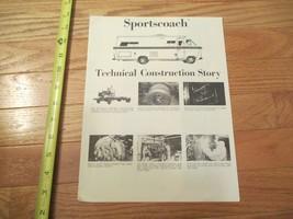 Sportscoach Motorhome Technical Construction Vintage Dealer sales brochure - $14.99