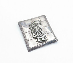 PERU 925 Sterling Silver - Vintage Traditional Figure Etched Brooch Pin ... - $56.57