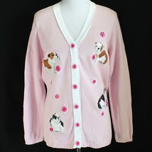 Storybook Knit Puppy Dog Cardigan Sweater Womens L Pink Embellished Long... - $37.99